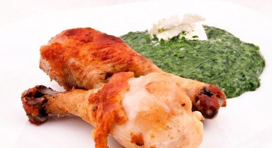 Chicken legs with spinach
